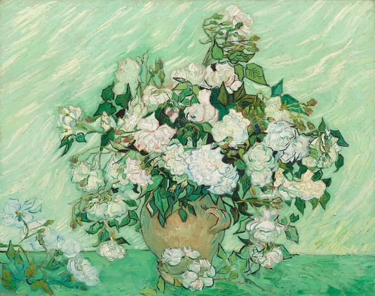 vase with pink roses by van gogh
